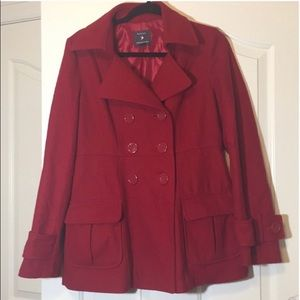 Forever 21 Red Peacoat Large
